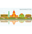 Washington DC Skyline with Color Buildings vector image