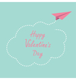 Paper plane cloud in the sky Happy Valentines day vector image
