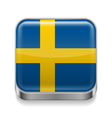 Metal icon of Sweden vector image