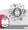 Hand drawn train icons with icons background vector image
