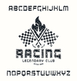 Square sanserif font in racing style vector image