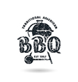 Barbecue emblem with shabby texture vector image