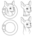 A set of drawing of the chihuahua in the collar vector image