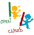 Open and closed announcement with children vector image
