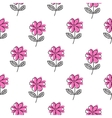 Thin line pink flower pattern vector image