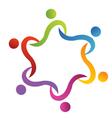 Teamwork swoosh helping logo vector image