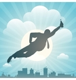 Silhouette of the man flying above city vector image vector image