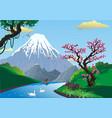 landscape - sakura on the river bank mount fuji vector image