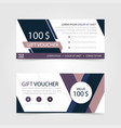 purple gift voucher template with colorful vector image