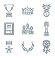 dark color outline various awards symbols icons vector image