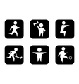 set of black sports symbols vector image