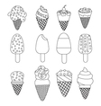Set of twelve delicious ice-creams and popsicles vector image
