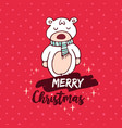 christmas red baby bear doodle greeting card vector image