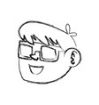 Figure nice boy face using 3d glasses vector image