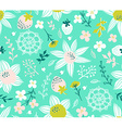 Seamless pattern with flowers leaves berries and vector image