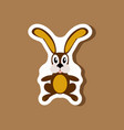 paper sticker on stylish background toy hare vector image