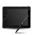 Graphic tablet with pencil vector image