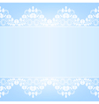 Blue background with white lace vector image