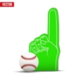 Baseball Sports Fan Foam Fingers and ball vector image
