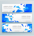 abstract blue triangles web banner or header vector image