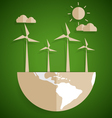 Ecology concept Paper cut of globe and turbine on vector image