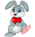 Funny bunny with red heart love vector image
