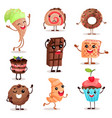 funny dessert characters set cute smiley sweets vector image