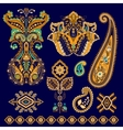 Set of Paisley floral decorative elements vector image