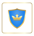 Shield gold icon with crown white vector image