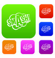 smash comic book bubble text set color collection vector image