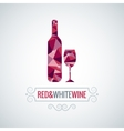 Wine bottle poly design background vector image