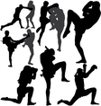 Muay Thai fighters silhouette vector image vector image