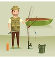 Fisherman with catch of crucian in bucket rod or vector image