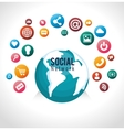 globe connected social network vector image