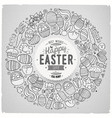set of easter cartoon doodle objects vector image