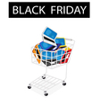 Laptop Computer in Black Friday Shopping Cart vector image vector image