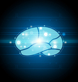 digital brain technology background vector image vector image