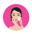 beautiful young asian woman removing make up look vector image