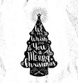 Merry christmas hipster vintage xmas black tree vector image