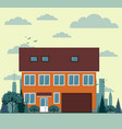 residential townhouses architecture icons vector image