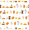 seamless pattern with dessert and drinks vector image