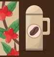 coffee thermos tree bean vector image