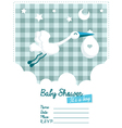 Baby Boy Invitation with Stork vector image vector image