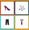 flat icon garment set of heeled shoe foot textile vector image