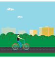 Men riding a bicycle in park vector image
