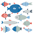 set of fish art flat style vector image