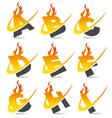 Swoosh Flame Alphabet Logo Set 1 vector image