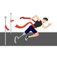 a disabled man crosses the finish line vector image
