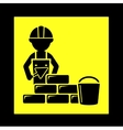 builder with brick wall icon vector image