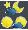 icons of the weather night with moon and stard vector image